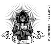 coat of arms with skull ... | Shutterstock .eps vector #413118424