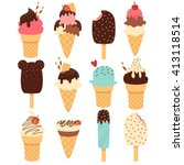 big set of cute simple ice... | Shutterstock .eps vector #413118514