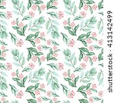 watercolor green leaves and red ... | Shutterstock . vector #413142499