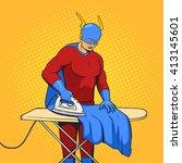 superhero clothes iron mantle... | Shutterstock .eps vector #413145601