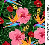 tropical flowers vector pattern  | Shutterstock .eps vector #413145859