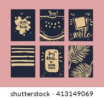 hand drawn set of summer cards  ... | Shutterstock .eps vector #413149069