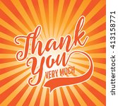thank you card with orange... | Shutterstock . vector #413158771
