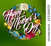 happy mother day typographical... | Shutterstock . vector #413184025