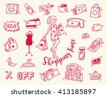 shopping time doodle icon | Shutterstock . vector #413185897
