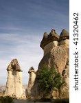 fairy chimneys in Goreme turkey - stock photo