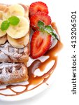 sweet dessert waffles with... | Shutterstock . vector #413206501