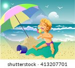 vector illustration of a sunny... | Shutterstock .eps vector #413207701