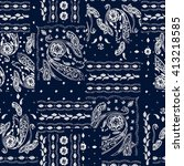 hand drawn paisley pattern.... | Shutterstock .eps vector #413218585