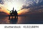 oil drill rig platform on the... | Shutterstock . vector #413218894