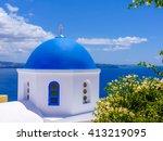beautiful church in santorini... | Shutterstock . vector #413219095