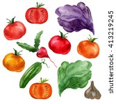 watercolor vegetable set  on... | Shutterstock . vector #413219245