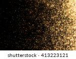 stardust gold bokeh on black... | Shutterstock . vector #413223121
