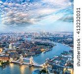 London At Night. Aerial View O...