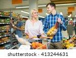young customers choosing fresh... | Shutterstock . vector #413244631