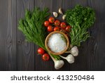 fresh herbs collection on a...   Shutterstock . vector #413250484