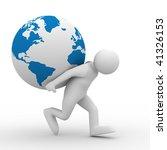 Men Carry Globe On Back....