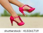 female legs in red shoes.  shoe ... | Shutterstock . vector #413261719