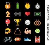 set of pixel art sport icons | Shutterstock .eps vector #413268469