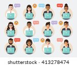 group of call center and... | Shutterstock .eps vector #413278474