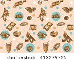 seamless pattern with cacao... | Shutterstock .eps vector #413279725