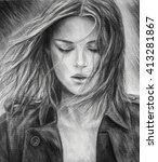 The Girl Pencil Drawing. A...