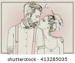 hipster couple with floral... | Shutterstock .eps vector #413285035