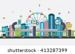 smart city with business signs. ... | Shutterstock .eps vector #413287399