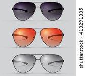 realistic  vector sunglasses set | Shutterstock .eps vector #413291335