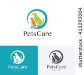 Stock vector pets care logo template 413292004