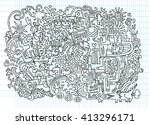 hipster hand drawn crazy doodle ... | Shutterstock .eps vector #413296171