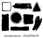 set of black paint  ink brush... | Shutterstock .eps vector #413299675