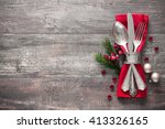christmas table place setting.... | Shutterstock . vector #413326165