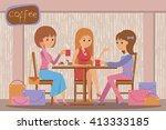 three beautiful friends women... | Shutterstock .eps vector #413333185