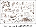 cooking fish   a sketch drawn...