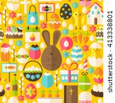 happy easter holiday yellow... | Shutterstock .eps vector #413338801