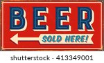 Vintage Metal Sign   Beer Sold...