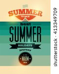 summer time retro poster.... | Shutterstock .eps vector #413349709