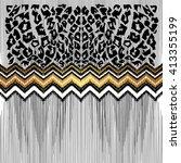 black  white  gold illustration.... | Shutterstock .eps vector #413355199