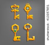 golden cartoon keys. vector...