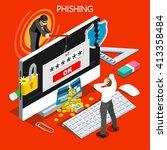 hacker phishing computer... | Shutterstock .eps vector #413358484