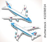 Boeing aircraft. Flat 3D isometric airplane vehicles. Plane Infographic elements. Landed Airplane in Airport. Armed Forces Military Airplane Isolated. Presidential Air Force One Vector Illustration.