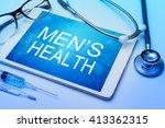 men's health word on tablet... | Shutterstock . vector #413362315