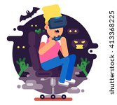 vr gaming. man sitting in an... | Shutterstock .eps vector #413368225