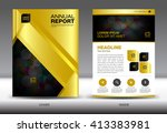 gold cover annual report... | Shutterstock .eps vector #413383981