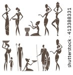 silhouettes of african men and... | Shutterstock .eps vector #413388331