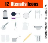 flat design utensils icon set...