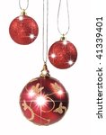 three christmas baubles hanging ... | Shutterstock . vector #41339401