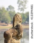 Small photo of Sculpture of statue of lion with the pond in the archaeological site of Sras Srang at Angkor Wat, Siem Reap. UNESCO site in Cambodia.