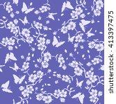 twig sakura blossoms and...   Shutterstock .eps vector #413397475